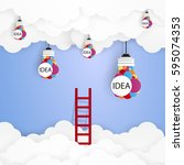 ladder for idea concept in the... | Shutterstock .eps vector #595074353