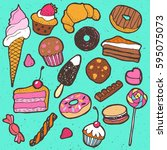 hand drawing doodle sweet cakes ... | Shutterstock .eps vector #595075073