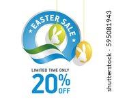 easter sale 20 percent flag... | Shutterstock .eps vector #595081943
