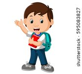 vector illustration of boy with ... | Shutterstock .eps vector #595083827