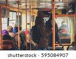 people in public transport    Shutterstock . vector #595084907