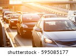 rear window view to the traffic ... | Shutterstock . vector #595085177