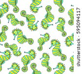 pattern of sea horse. | Shutterstock .eps vector #595094117