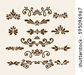 vector hand draw vintage floral ... | Shutterstock .eps vector #595096967