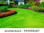landscape formal  front yard is ... | Shutterstock . vector #595098287