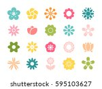 set of minimalistic flowers... | Shutterstock .eps vector #595103627