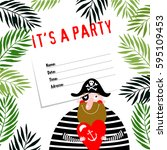 invitational to a pirate party. ... | Shutterstock .eps vector #595109453