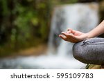 woman yoga   relax in waterfall ... | Shutterstock . vector #595109783