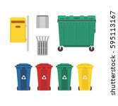 recycling and garbage cans... | Shutterstock .eps vector #595113167