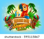 summer vacation illustration... | Shutterstock .eps vector #595115867