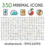 set of 350 minimalistic solid... | Shutterstock .eps vector #595116593