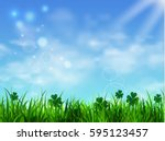 green grass lawn with sunrise... | Shutterstock .eps vector #595123457