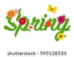 spring text with gradient mesh  ... | Shutterstock .eps vector #595128533