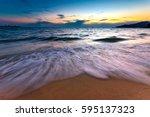 motion blur of beach wave   Shutterstock . vector #595137323