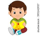 kids boy reading book cartoon | Shutterstock . vector #595142957