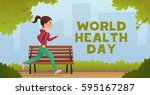 girl jogging. sport fitness run ... | Shutterstock .eps vector #595167287