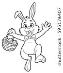 cartoon easter bunny line art | Shutterstock .eps vector #595176407