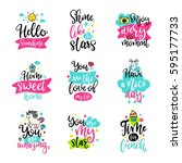 vector calligraphy with decor... | Shutterstock .eps vector #595177733