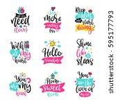 vector calligraphy with decor... | Shutterstock .eps vector #595177793