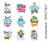 vector calligraphy with decor... | Shutterstock .eps vector #595177817