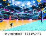 empty professional volleyball... | Shutterstock . vector #595191443