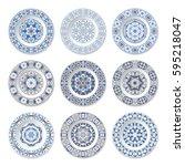 set of nine decorative plates... | Shutterstock .eps vector #595218047