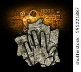 digital dementia burnout...   Shutterstock . vector #595221887