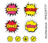 comic boom  wow  oops sound... | Shutterstock . vector #595229777