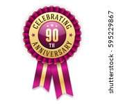 gold 90th anniversary badge  ... | Shutterstock .eps vector #595229867
