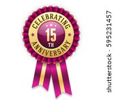 gold 15th anniversary badge  ... | Shutterstock .eps vector #595231457