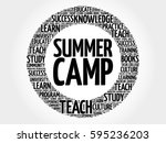 summer camp word cloud ... | Shutterstock . vector #595236203