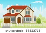 family house and green grass....   Shutterstock .eps vector #59523715