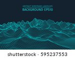 wireframe landscape background. ... | Shutterstock .eps vector #595237553