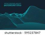 wireframe landscape background. ... | Shutterstock .eps vector #595237847