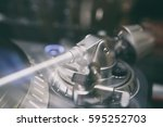 disc jockey turntable tone arm... | Shutterstock . vector #595252703