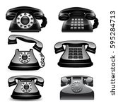 old phone set. vector | Shutterstock .eps vector #595284713
