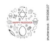 passover seder poster. line... | Shutterstock .eps vector #595308137