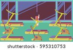 flat colorful gym 09 | Shutterstock .eps vector #595310753