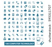 computer technology icons  | Shutterstock .eps vector #595311707