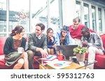 team of businessmen sharing...   Shutterstock . vector #595312763