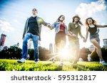 multi ethnic group of friends... | Shutterstock . vector #595312817