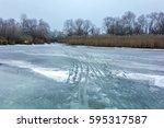 Winter Background. Frozen Rive...
