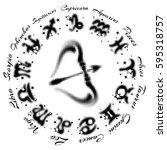 zodiac sign sagittarius 13... | Shutterstock .eps vector #595318757