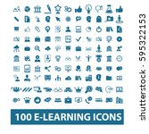 learning icons  | Shutterstock .eps vector #595322153