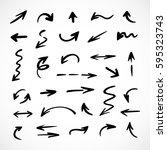 hand drawn arrows  vector set | Shutterstock .eps vector #595323743
