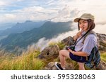 happy hiker asian cute teens... | Shutterstock . vector #595328063