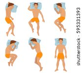 man sleep positioning isolated... | Shutterstock .eps vector #595331393