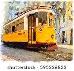 digital watercolor painting of... | Shutterstock . vector #595336823