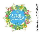 flower wreath with hand drawn...   Shutterstock .eps vector #595342667