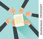 cooperation agreement concept....   Shutterstock .eps vector #595342697
